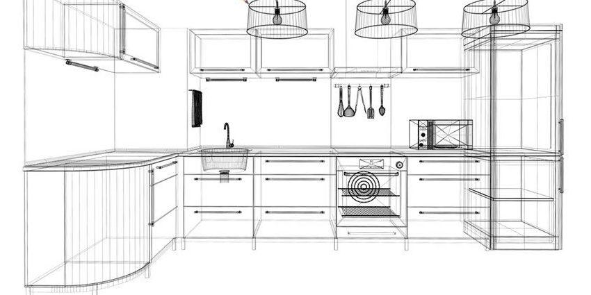 Чертеж кухни для замеров