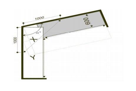 Измерение кухни по отношению к стене