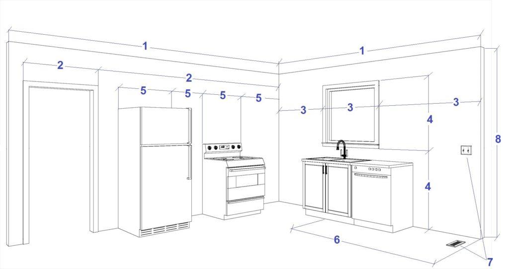 Замеры мебели на кухне