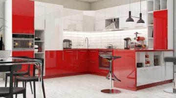 Красная кухня с фасадом ПВХ