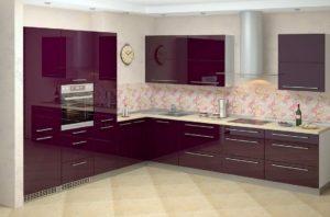 Кухня из акрила фиолетовая
