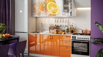Оранжевая глянцевая кухня