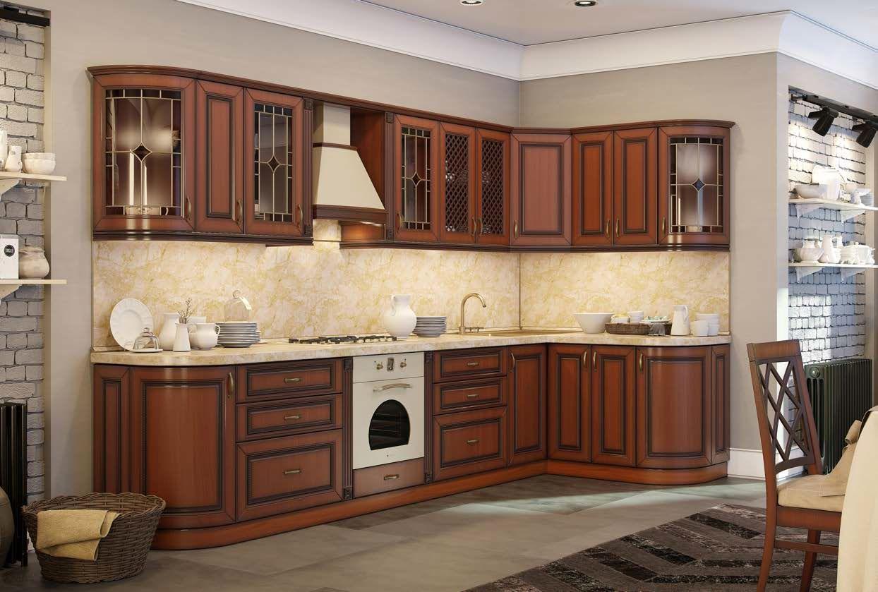 Кухня с радиусными полками