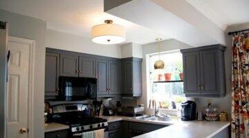 Матовая кухня под потолок