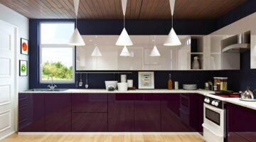 Фиолетовая кухня из акрила