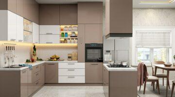 Акриловая бежевая кухня