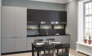 Серый матовый гарнитур для кухни